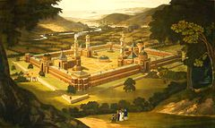 New Harmony by F. Bate (View of a Community, as proposed by Robert Owen) printed 1838.jpg